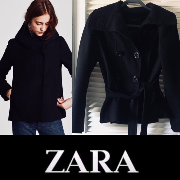 d714b945 Zara wool double breasted tie short pea coat L. M_5bc66372fe5151f17c3ead1e.  Other Jackets & Coats ...